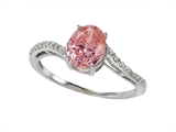 Zoe R™ Fancy Pink CZ Engagement Ring with Diamonds