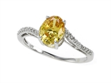 Zoe R™ Fancy Yellow CZ Engagement Ring with Diamonds style: 670007Y