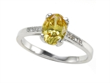 Zoe R™ Fancy Yellow CZ Engagement Ring with Diamonds style: 670008Y