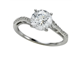 Zoe R™ White CZ Engagement Ring with Diamonds