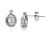 Zoe R White Gold Signity by Swarovski Cubic Zirconia (CZ) Earrings with Diamonds