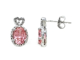 Zoe R™ Fancy Pink Signity by Swarovski Cubic Zirconia (CZ) Earrings with Diamonds style: 670014P