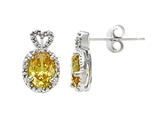 Zoe R Fancy Yellow Signity by Swarovski Cubic Zirconia (CZ) Earrings with Diamonds