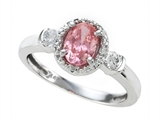 Zoe R Fancy Pink Signity by Swarovski Cubic Zirconia (CZ) Engagement Ring with Diamonds