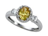 Zoe R Fancy Yellow Signity by Swarovski Cubic Zirconia (CZ) Engagement Ring with Diamonds