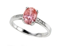 Zoe R Fancy Pink CZ Engagement Ring with Diamonds