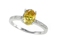 Zoe R Fancy Yellow CZ Engagement Ring with Diamonds