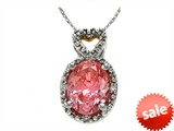 Zoe R™ Fancy Pink CZ Pendant with Diamonds style: 670005P