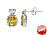 Zoe R™ Fancy Yellow Signity by Swarovski Cubic Zirconia (CZ) Earrings with Diamonds style: 670014Y