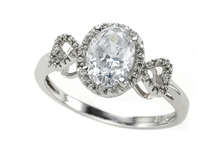White CZ Engagement Ring with Diamonds by Zoe R(tm)