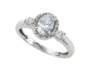 White Gold Engagement Ring with Diamonds and Signity by Swarovski Cubic Zirconia (CZ) by Zoe R(tm)