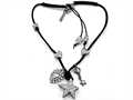 Otazu White Swarovsky Crystal Star Leather Necklace with Toggle Clasp