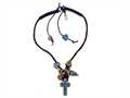 Otazu Black, Brown, and Blue Swarovsky Crystal Cross Leather Necklace with Toggle Clasp