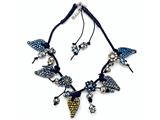 Otazu Black, Blue, and Brown Swarovsky Crystal Heart Leather Necklace with Toggle Clasp