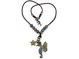 Otazu Black, Brown, and Blue Swarovsky Crystal Seahorse and Star Leather Necklace with Toggle Clasp