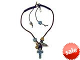 Otazu Black, Brown, and Blue Swarovsky Crystal Cross Leather Necklace with Toggle Clasp style: OZ111423BR