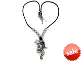 Otazu White Swarovsky Crystal Seahorse and Star Leather Necklace with Toggle Clasp
