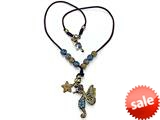 Otazu Black, Brown, and Blue Swarovsky Crystal Seahorse and Star Leather Necklace with Toggle Clasp style: OZ113834BR