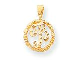 10k Bright-cut Circle With Initial B Inside Charm style: 10C765B