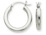 10k White Gold 3mm Hoop Earrings style: 10T1125