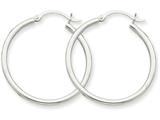 10k White Gold 2mm Hoop Earrings style: 10T826