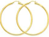10k Polished 3mm Round Hoop Earrings style: 10T945
