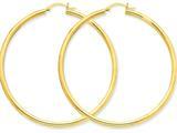 10k Polished 3mm Round Hoop Earrings style: 10T945