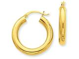 10k Polished 4mm X 25mm Tube Hoop Earrings style: 10T950