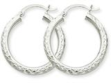 10k White Gold Diamond-cut 3mm Round Hoop Earrings style: 10TC253