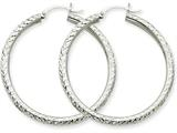 10k White Gold Diamond-cut 3mm Round Hoop Earrings style: 10TC257