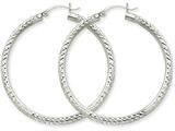 10k White Gold Diamond-cut 3mm Round Hoop Earrings style: 10TC258