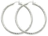10k White Gold Diamond-cut 3mm Round Hoop Earrings style: 10TC260