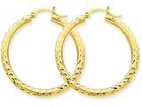10k Bright-cut 3mm Round Hoop Earrings style: 10TC263