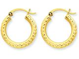10k Bright-cut 3mm Round Hoop Earrings style: 10TC266