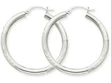 10k White Gold Satin and Bright-cut 3mm Round Hoop Earrings style: 10TC275