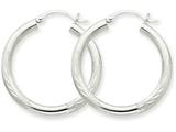 10k White Gold Satin and Diamond-cut 3mm Round Hoop Earrings style: 10TC276