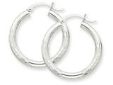 10k White Gold Satin and Diamond-cut 3mm Round Hoop Earrings style: 10TC277
