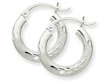 10k White Gold Satin and Diamond-cut 3mm Round Hoop Earrings style: 10TC279
