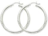 10k White Gold Satin and Diamond-cut 3mm Round Hoop Earrings style: 10TC281