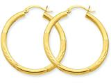 10k Satin and Diamond-cut 3mm Round Hoop Earrings style: 10TC287