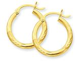 10k Satin and Diamond-cut 3mm Round Hoop Earrings style: 10TC290