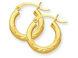 10k Satin and Bright-cut 3mm Round Hoop Earrings style: 10TC291