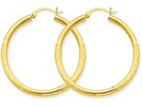 10k Satin and Diamond-cut 3mm Round Hoop Earrings style: 10TC293