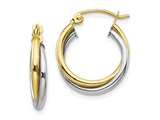 10k Yellow and White Gold Textured Twist Hoop Earrings style: 10TC365