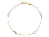 "10 Inch 14k Two-tone Textured And Polished Leaf W/ 1""  Ext. Anklet style: ANK28110"
