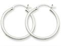 10k White Gold 2mm Round Hoop Earrings