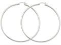 10k White Gold 2mm Round Hoop Earrings