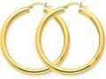 10k Polished 4mm X 45mm Tube Hoop Earrings