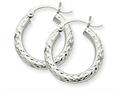 10k White Gold Diamond-cut 3mm Round Hoop Earrings