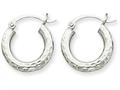 10k White Gold Bright-cut 3mm Round Hoop Earrings